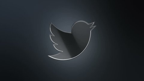 Editorial Animation: 3D rotation of symbol of Twitter logo from glass. Animation of seamless loop.