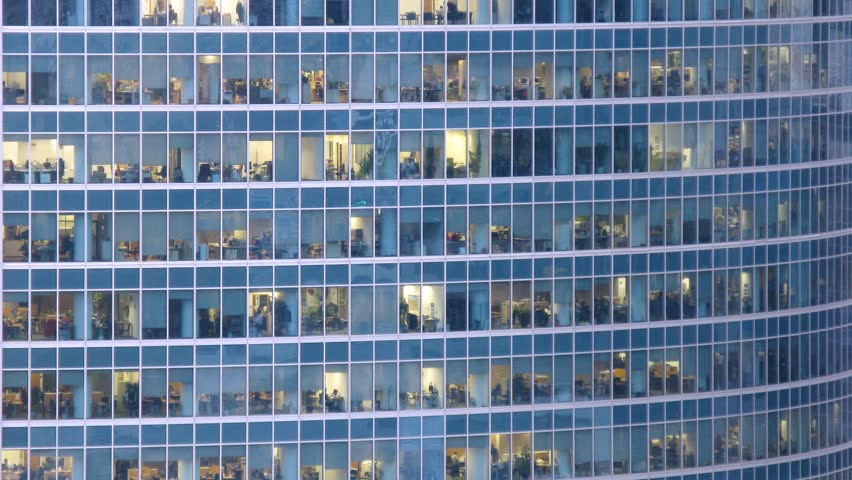 Office building viewed in the evening. Time lapse | Shutterstock HD Video #3148141