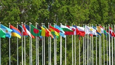 World Flag Poles In Lisbon, Portugal
