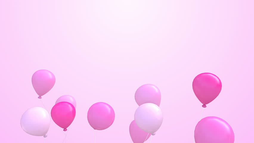Group of Balloons fly away animation -Pink color, 3D