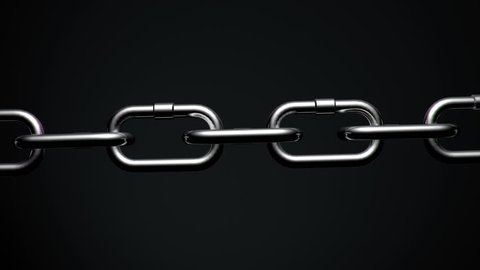4k Top down version of Metal Chain links going limp then tightened until the weakest link explodes.