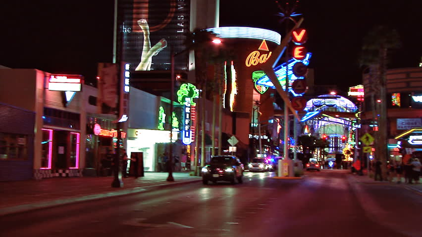 LAS VEGAS, NV - CIRCA 2012: Side view from moving auto - tracking shot from