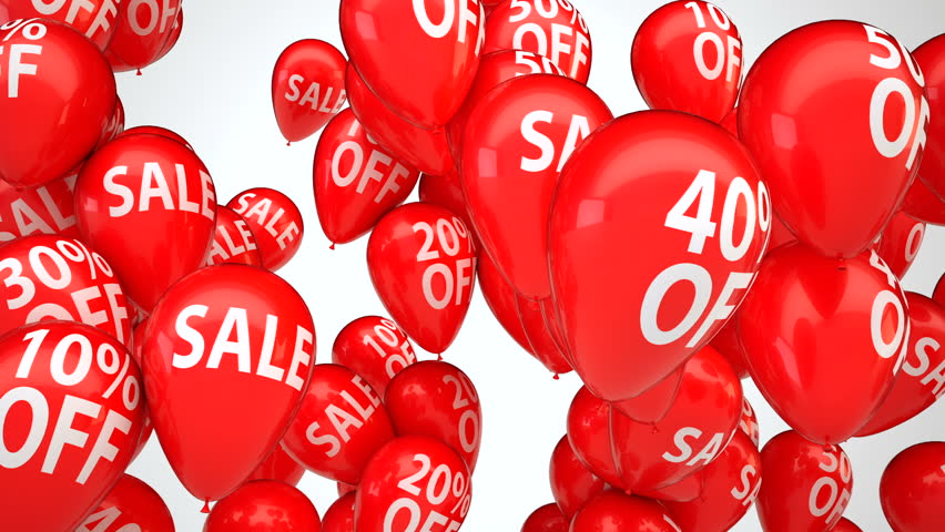 3d animation of red helium balloons with percentage sale sign flying up over white background