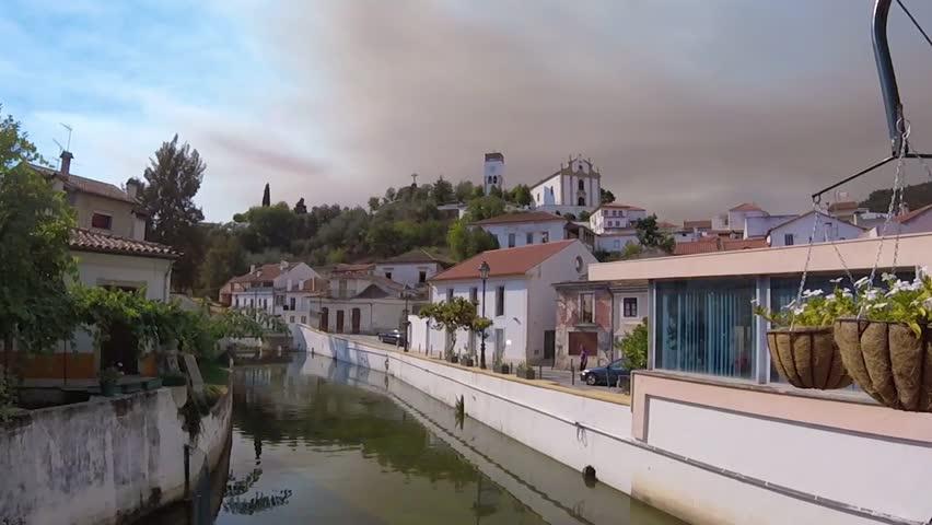 sky with shadow of fire in Miranda do Corvo, Portugal