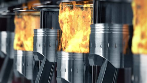 A close-up of engine in slow motion with explosions of fuel. Beautiful 3d animation (4K,ultra high definition 2160p)