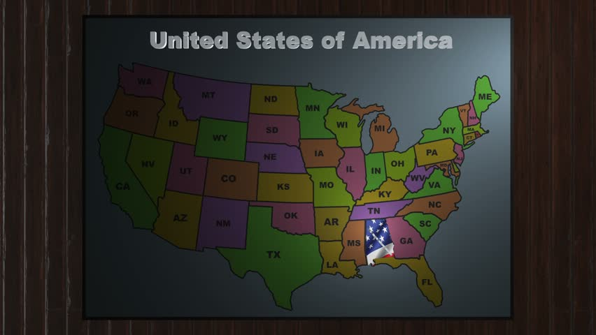 Alabama Animated Map Video Starts With Light Blue USA National - Alabama state on us map
