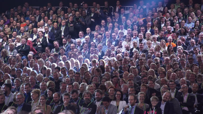 HELSINKI, FINLAND - OCTOBER 02, 2017: Huge audience listens to the speaker. Nordic Business Forum - annual business conference in Helsinki gathers together over 6000 attendees from over 30 countries. | Shutterstock HD Video #31611598