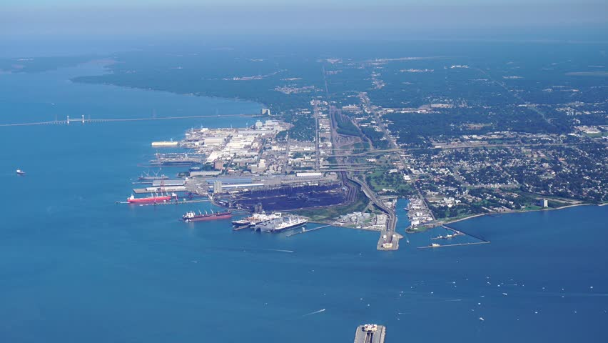 Newport News, Virginia  AERIAL fly-by WEST