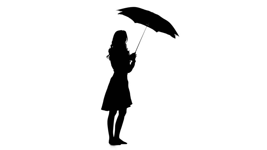 A Silhouette Of A Woman Standing Against A White