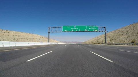 Las Vegas overhead freeway sign on Interstate 15 near Barstow, California.