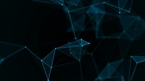 Abstract futuristic, polygonal space with a dark background with connecting points, lines and triangles. The concept of science, business, space. Loop animation