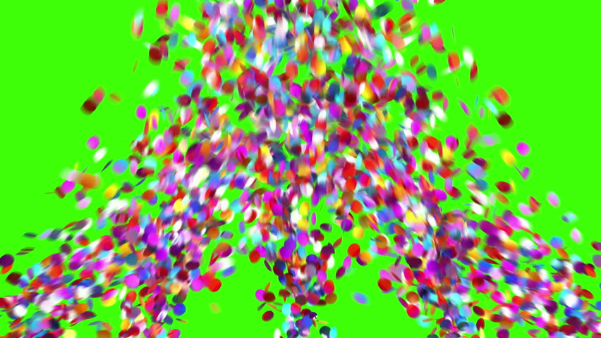 Confetti Party Popper Explosion on a Green Background. 3d animation, 4K.