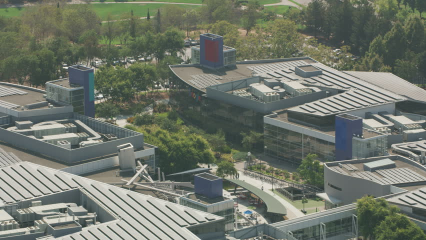 Mountain View, California circa-2017, Aerial shot of Googleplex, Google's global headquarters. Shot with Cineflex and RED Epic-W Helium.