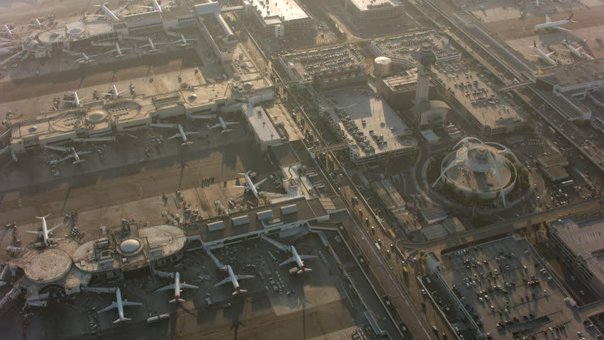 Los Angeles, California circa-2017, Aerial shot of LAX International Airport. Shot with Cineflex and RED Epic-W Helium. | Shutterstock HD Video #31647406
