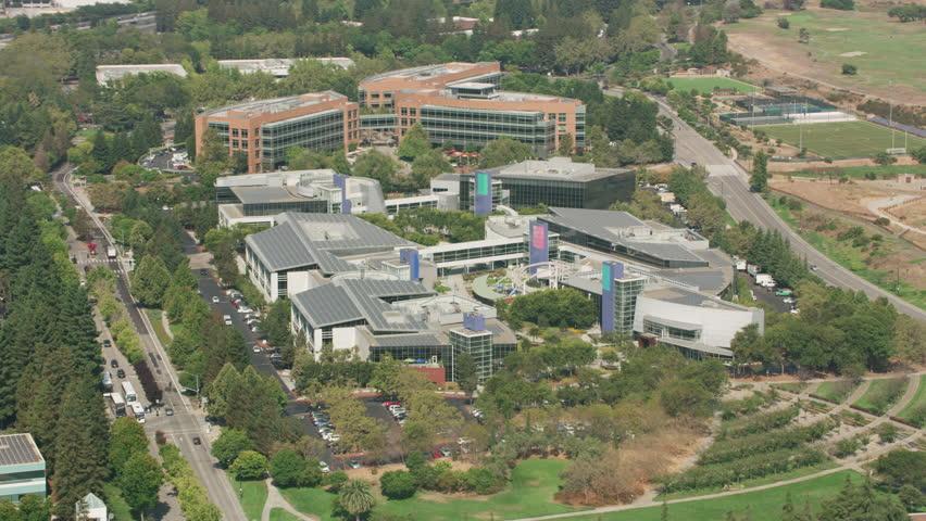 Mountain View, California circa-2017, Aerial shot of Googleplex, Google's global headquarters. Shot with Cineflex and RED Epic-W Helium.