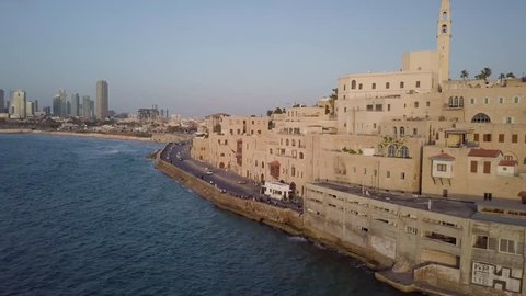 Old Jaffa Port and Tel Aviv Skyline -  Aerial View