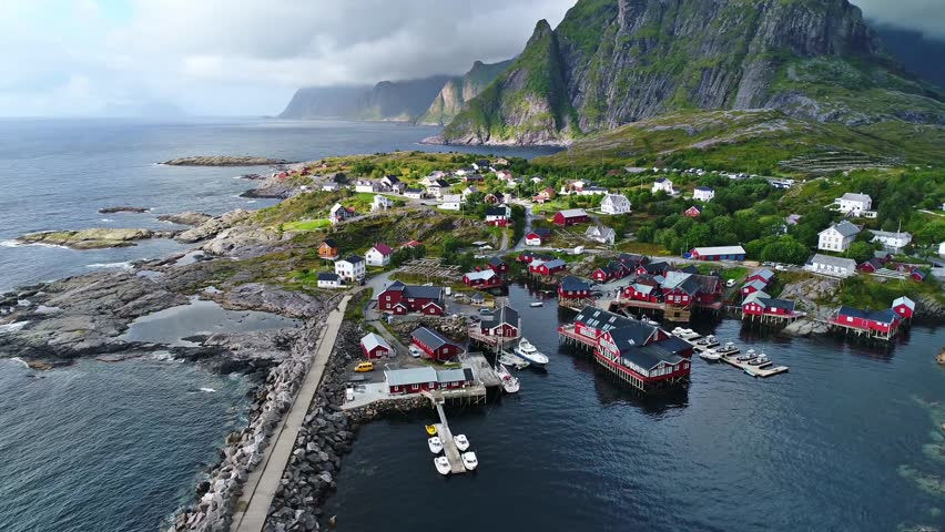 Fishing village of reine in the Norway from the sky,2017.