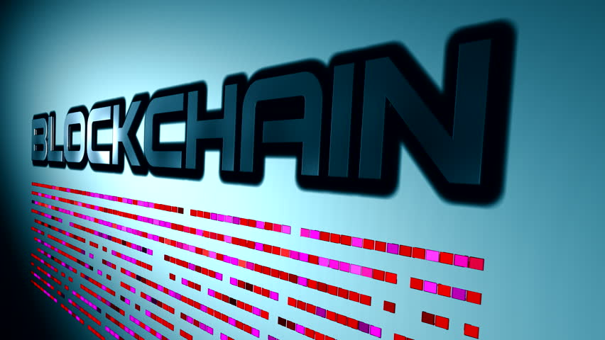 Blockchain or block chain as word on wall. Illustration of the name of technology.
