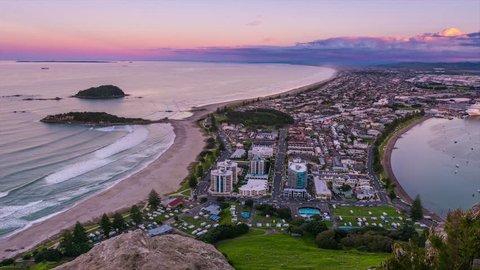 Sunset time-lapse overlooking Mount Maunganui, Bay of Plenty, New Zealand