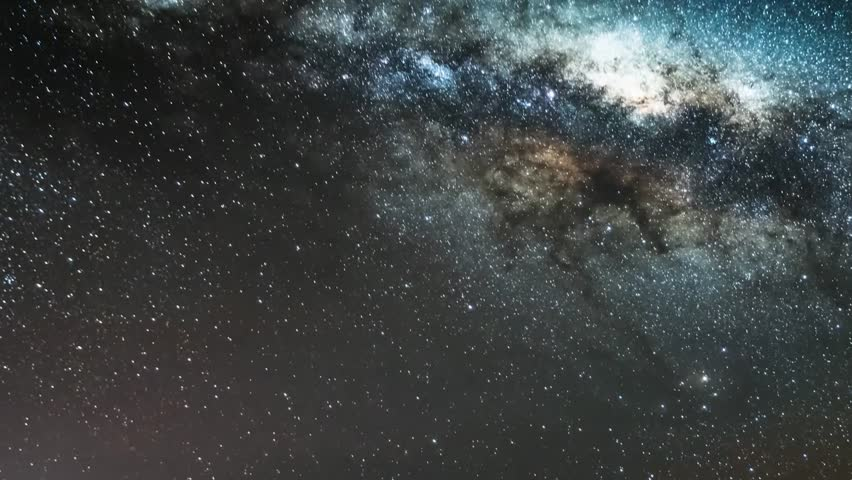 Milky way time lapse galaxy in horizon night time, panoramic galaxy milky way view at dark sky. Representation of the Milky Way with globular cluster. Timelapse Mojave Desert, Seamless loop Full HD. | Shutterstock HD Video #31732114