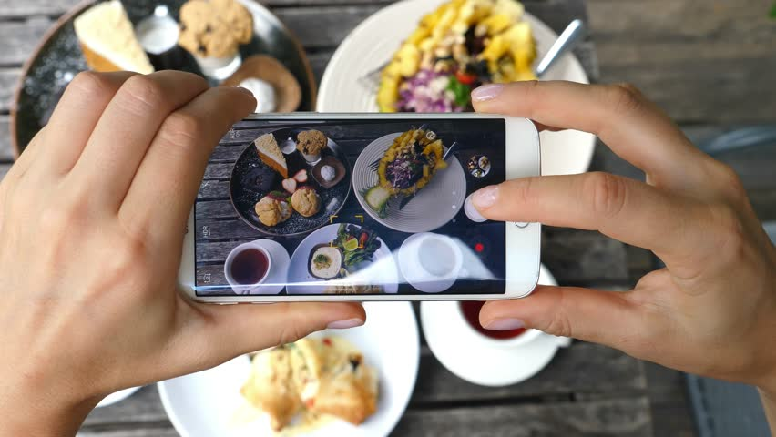 Woman Hands Taking Photos Of Dinner Food By Smartphone. Closeup. 4K.  #31749106