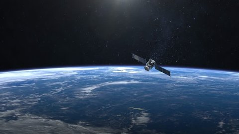 The satellite is orbiting the Earth. The satellite is flying from afar. The earth is spinning rapidly. 4K.