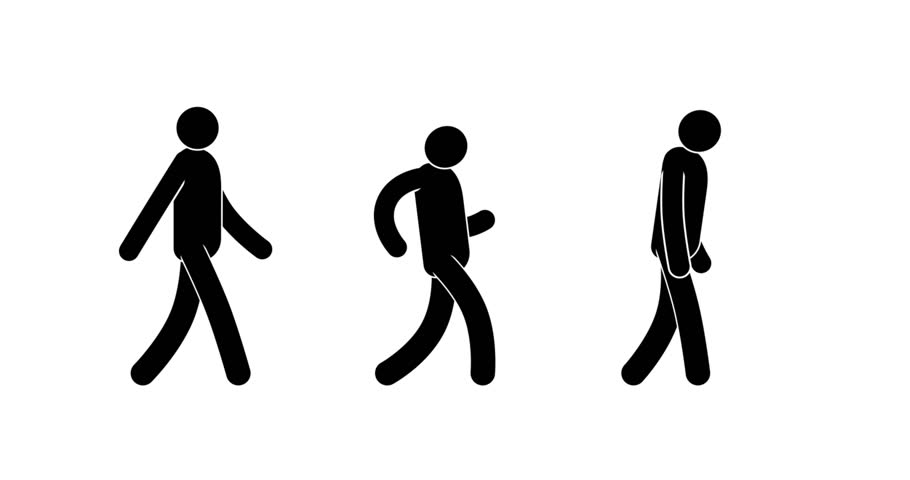 Pictogram man walking cycle. Three options - icon people goes quietly, happily dancing, sad. Looped 2D animation with alpha mask.