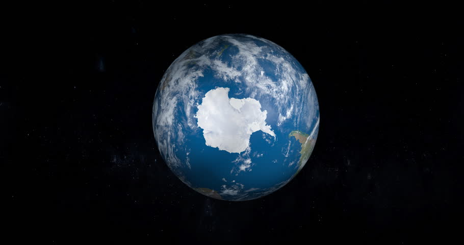 Antarctica, South Pole, in planet Earth in rotation, aerial view from outer space | Shutterstock HD Video #31800016