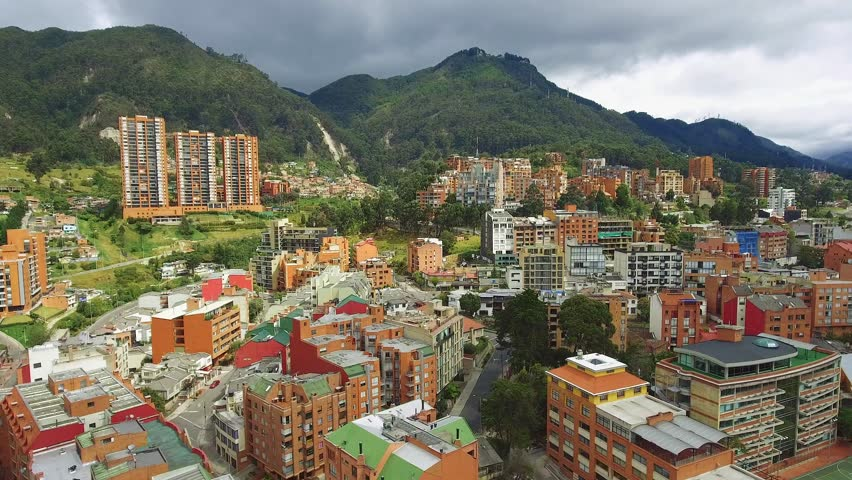 Aerial Shot of beautiful area in Bogota, Colombia