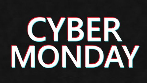 Cyber Monday. Cyber Monday sale promotion video glitch effect footage
