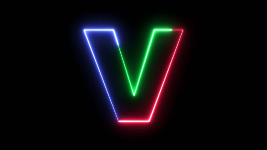 Letter V - RGB laser outline in three colors looping on black background in 4k | Shutterstock HD Video #31827826