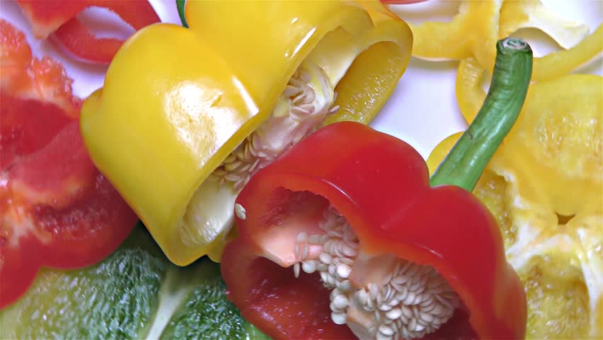 Red, Green and Yellow Paprika – Close Up, Detail, Macro  | Shutterstock HD Video #31834936