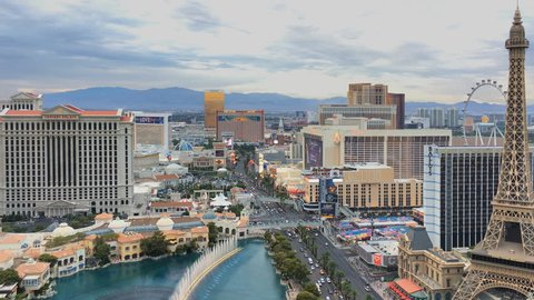 LAS VEGAS, NEVADA - JULY 25, 2017: Aerial view of Las Vegas strip on July 25, 2017 in Las Vegas, Nevada. Caesars Palace, the Bellagio and Paris Hotel and casino.