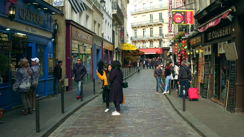 PARIS, FRANCE - OCTOBER 7, 2017. POV walk along the Parisian rue de la Harp, a street in the Latin Quarter.