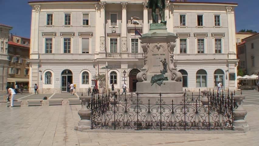 PIRAN, SLOVENIA - CIRCA 2011: Giuseppi Tartini statue in front of the civic building in Porec.