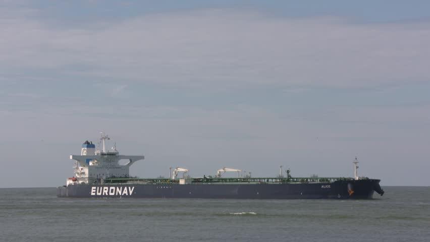 ROTTERDAM SEAPORT- AUGUST 2017: Crude oil tanker Euronav Alice on North Sea, approaching Port of Rotterdam.