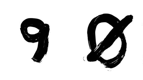 Hi-resolution, hand painted brush stroke 9 (nine) and 0 (zero) with alpha channel. Follow us to get more characters from the collection. A must have for motion graphic designers.