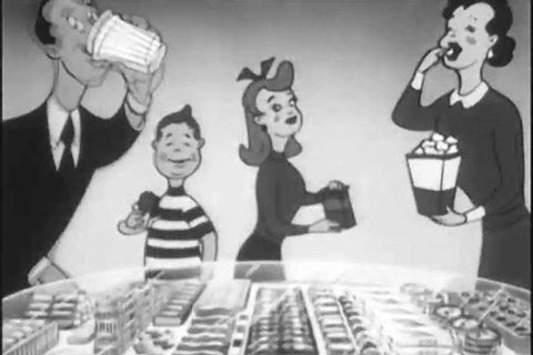 CIRCA 1950s - Animated concession stand products sing for theatergoers to buy popcorn, candy and soda pop, at the movies, in a snipe, in 1953.
