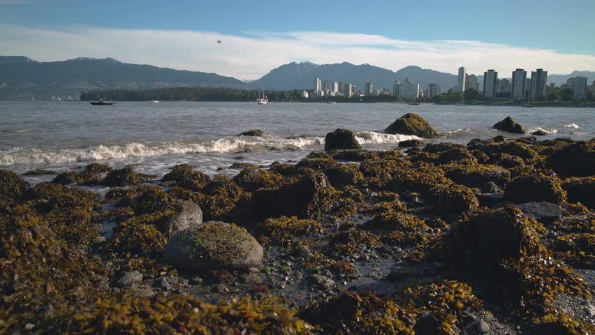 Kitsilano Low Tide Skyline, Vancouver 4K UHD. Kitsilano Beach on English Bay in the morning. In the background are the North Shore Mountains. Vancouver, British Columbia, Canada. 4K. UHD.