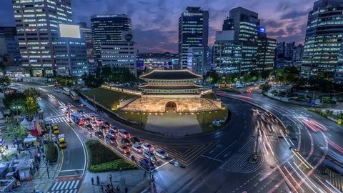 Time lapse of Traffic at Namdaemun gate and Seoul City,South Korea.