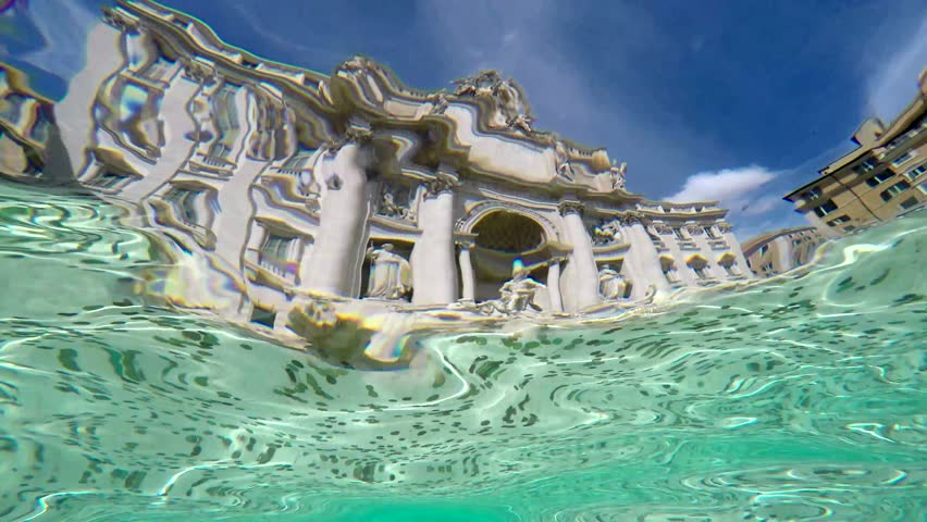 Underwater footage of Trevi Fountain in Italian Fontana di Trevi is a fountain in Trevi district in Rome Italy designed by Italian architect Nicola Salvi and completed by Pietro Bracci 4k quality