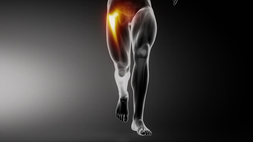 Running man with hip joint detail anterior view