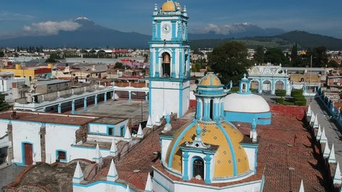 Cholula Puebla church aerial footage with Volcano