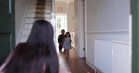 Girl running to welcome Mum home