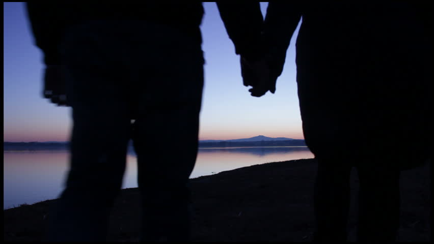 Two people in love at sunset. silhouettes hold hands