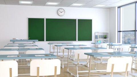 School classroom with desks and blackboard
