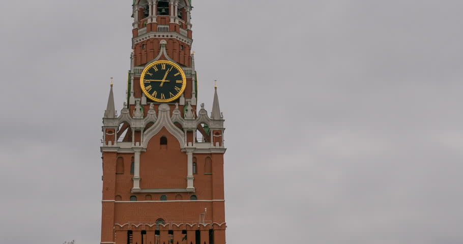 Moscow Kremlin Main Clock named Kuranti on Spasskaya Tower. Red Square. Timelapse.