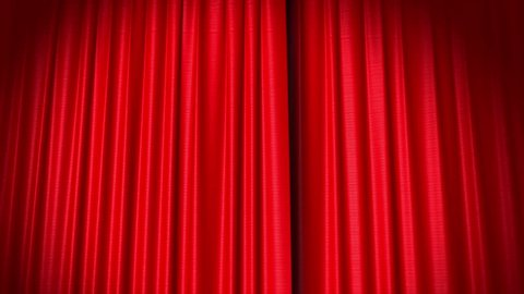 Opening and closing red curtain, 3d animation
