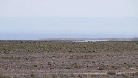 Mirage in mongolian arid stone desert. Optical illusion of water lake oasis on horizon. Western Mongolia.