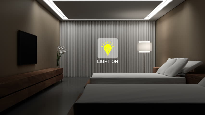 Hotel, House bed room light on off energy saving efficiency control, Smart home control, internet of things.